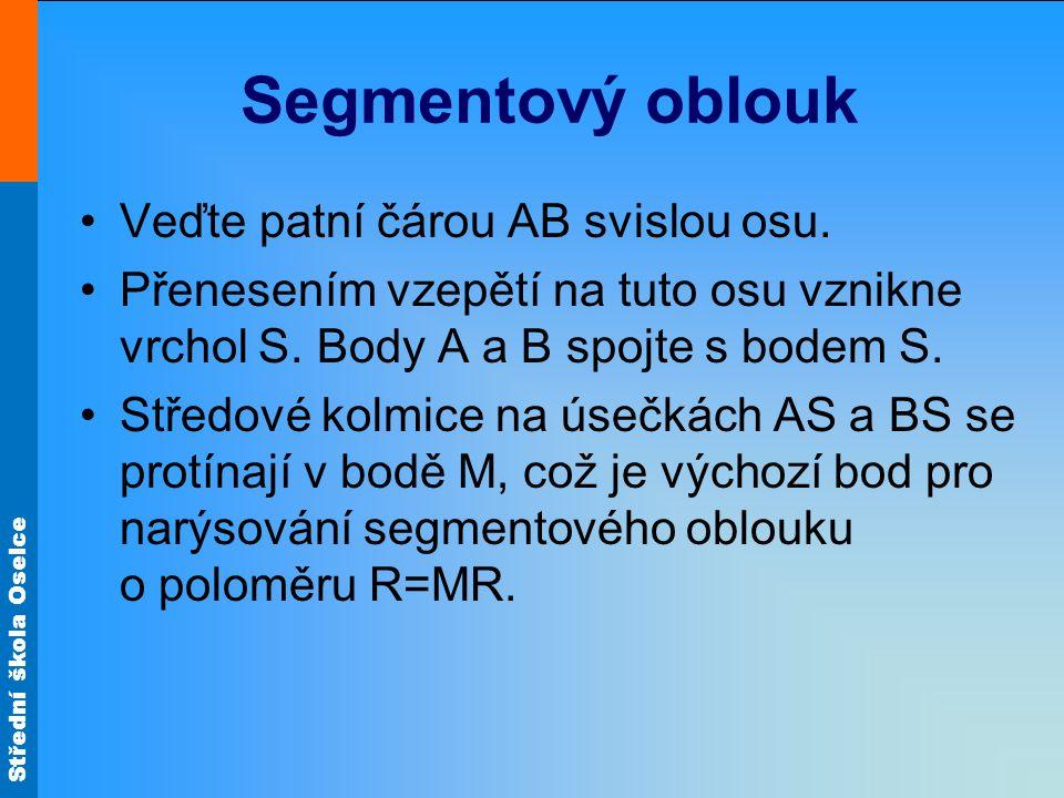 Střední škola Oselce Segmentový oblouk Rozpětí A B M R1 Vzepětí S R2 M R3