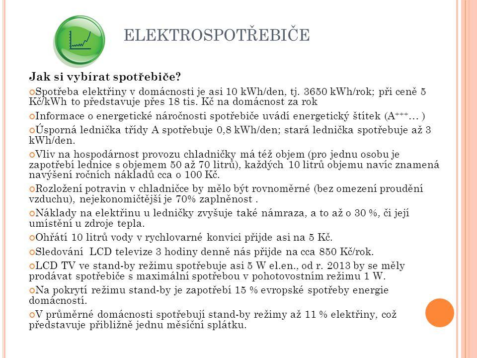 ELEKTROSPOTŘEBIČE Jak si vybírat spotřebiče? Spotřeba elektřiny v domácnosti je asi 10 kWh/den, tj. 3650 kWh/rok; při ceně 5 Kč/kWh to představuje pře