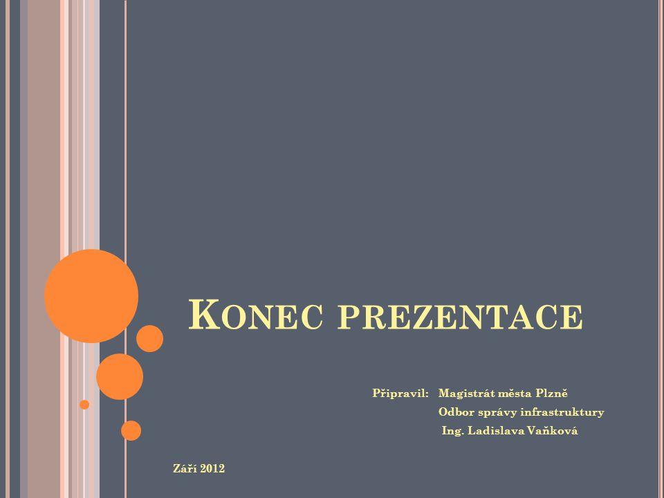 K ONEC PREZENTACE Připravil: Magistrát města Plzně Odbor správy infrastruktury Ing. Ladislava Vaňková Září 2012