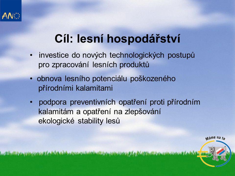 Cíl: lesní hospodářství • investice do nových technologických postupů pro zpracování lesních produktů • obnova lesního potenciálu poškozeného přírodními kalamitami • podpora preventivních opatření proti přírodním kalamitám a opatření na zlepšování ekologické stability lesů