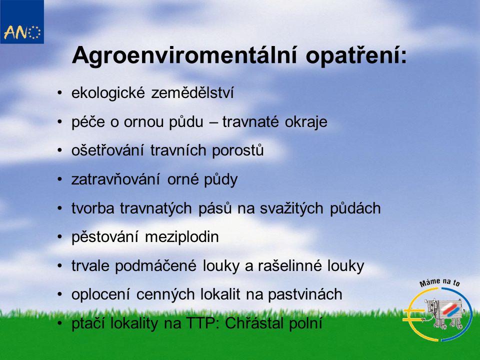 Agroenviromentální opatření: • ekologické zemědělství • péče o ornou půdu – travnaté okraje • ošetřování travních porostů • zatravňování orné půdy • tvorba travnatých pásů na svažitých půdách • pěstování meziplodin • trvale podmáčené louky a rašelinné louky • oplocení cenných lokalit na pastvinách • ptačí lokality na TTP: Chřástal polní