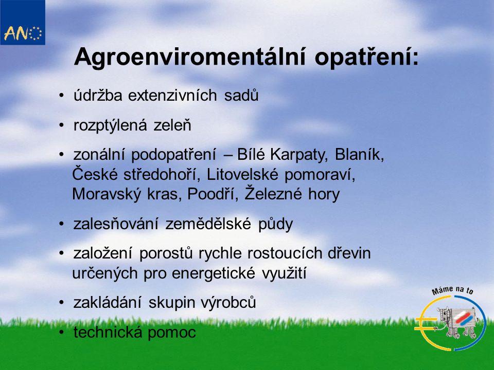 Agroenviromentální opatření: • údržba extenzivních sadů • rozptýlená zeleň • zonální podopatření – Bílé Karpaty, Blaník, České středohoří, Litovelské pomoraví, Moravský kras, Poodří, Železné hory • zalesňování zemědělské půdy • založení porostů rychle rostoucích dřevin určených pro energetické využití • zakládání skupin výrobců • technická pomoc