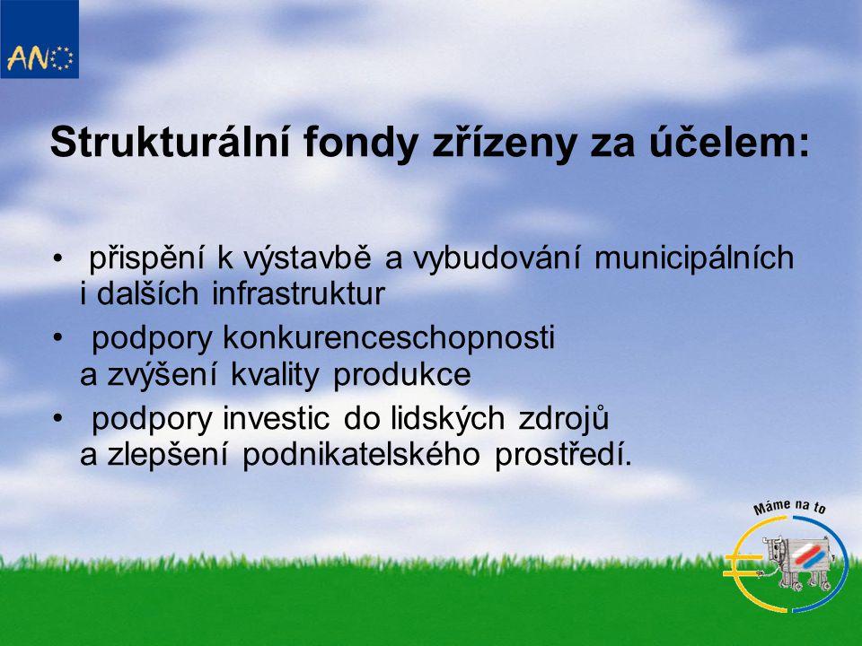 Druhy fondů: • Evropský regionální a rozvojový fond (ERDF) • Evropský zemědělský orientační a záruční fond (EAGGF) • Evropský sociální fond (ESF) • Finanční nástroj pro usměrňování rybolovu (FIFG) • Fond soudržnost