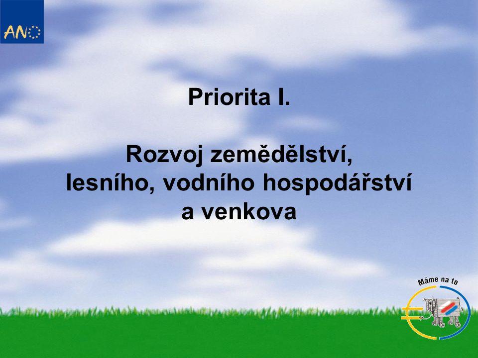 Priorita I. Rozvoj zemědělství, lesního, vodního hospodářství a venkova