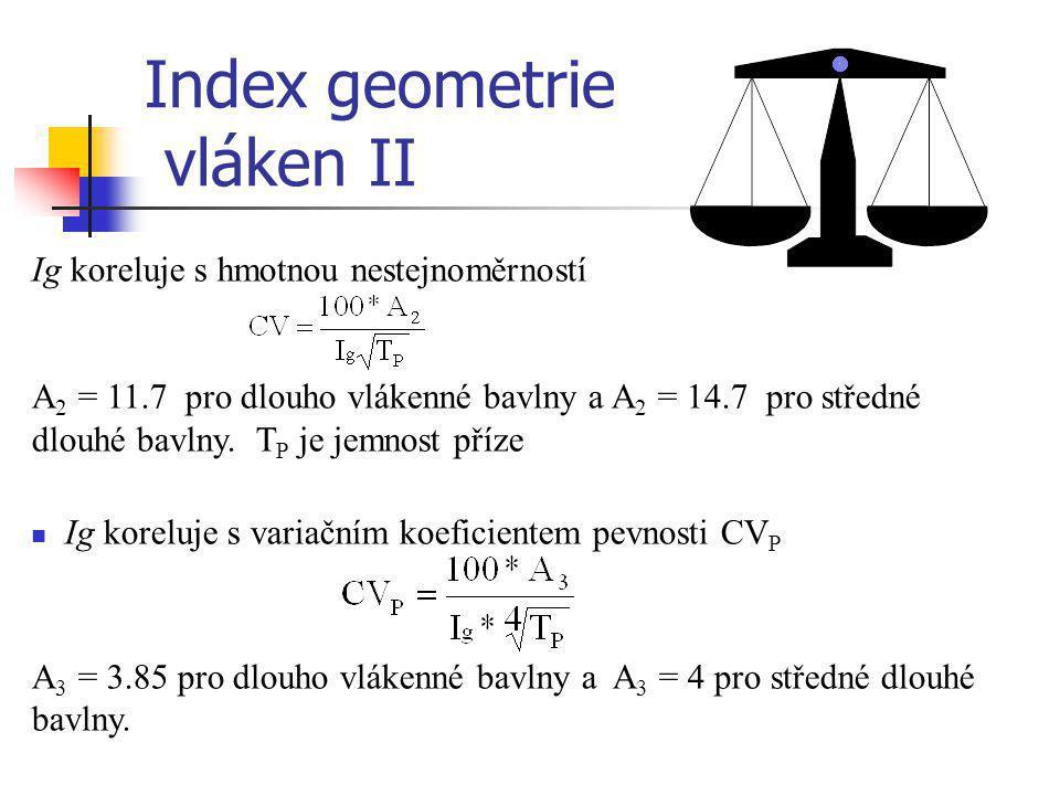 Ig koreluje s hmotnou nestejnoměrností A 2 = 11.7 pro dlouho vlákenné bavlny a A 2 = 14.7 pro středné dlouhé bavlny. T P je jemnost příze  Ig koreluj