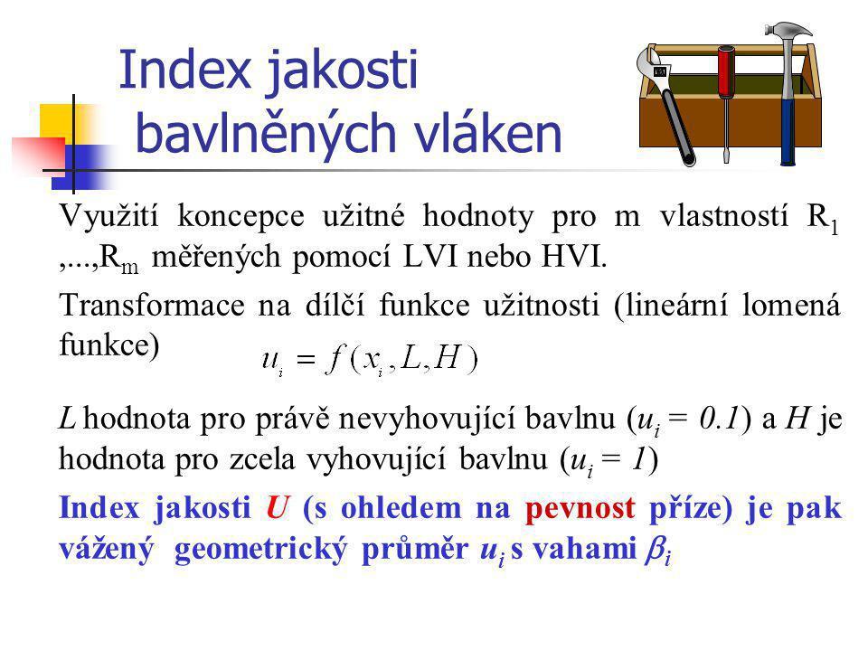 Index jakosti bavlněných vláken Využití koncepce užitné hodnoty pro m vlastností R 1,...,R m měřených pomocí LVI nebo HVI. Transformace na dílčí funkc