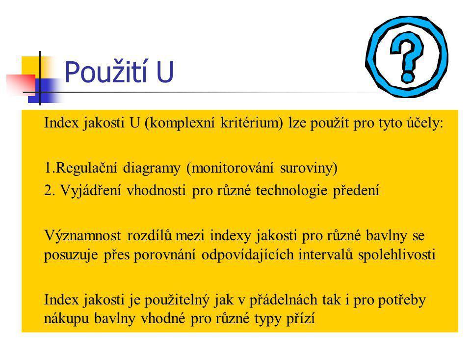 Index jakosti U (komplexní kritérium) lze použít pro tyto účely: 1.Regulační diagramy (monitorování suroviny) 2. Vyjádření vhodnosti pro různé technol