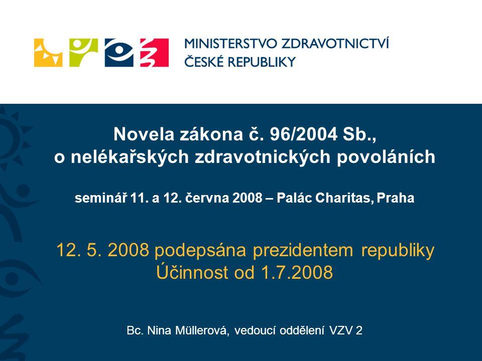Novela zákona č. 96/2004 Sb., o nelékařských zdravotnických povoláních seminář 11. a 12. června 2008 – Palác Charitas, Praha 12. 5. 2008 podepsána pre