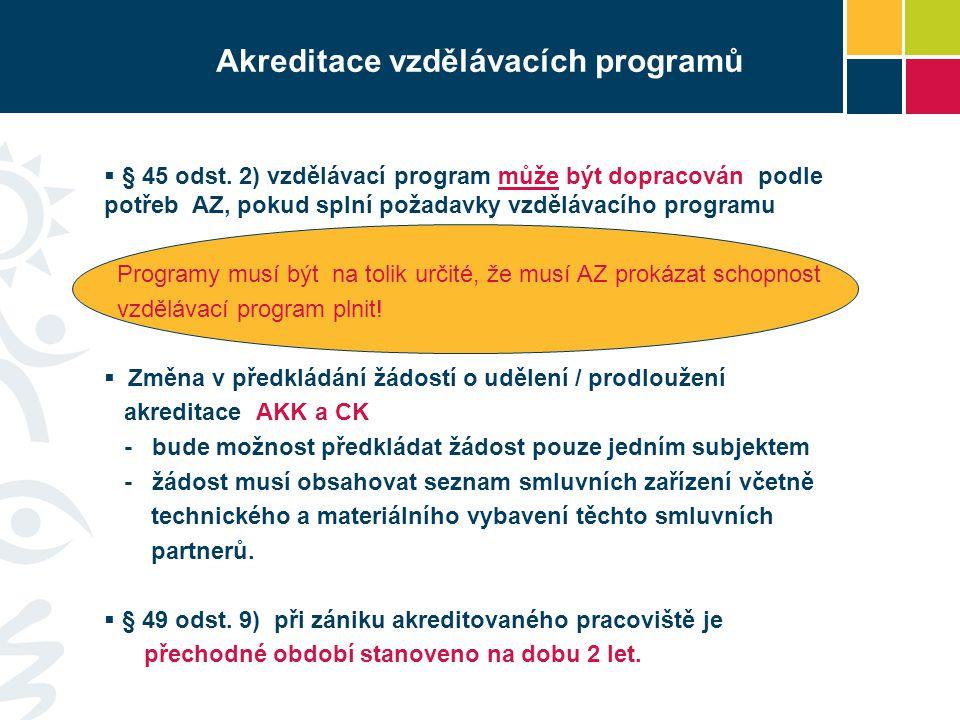 Akreditace vzdělávacích programů  § 45 odst. 2) vzdělávací program může být dopracován podle potřeb AZ, pokud splní požadavky vzdělávacího programu P