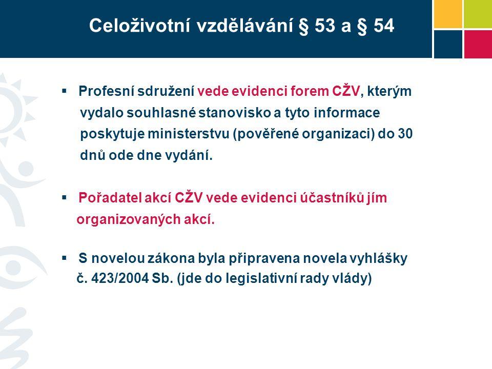 Celoživotní vzdělávání § 53 a § 54  Profesní sdružení vede evidenci forem CŽV, kterým vydalo souhlasné stanovisko a tyto informace poskytuje ministerstvu (pověřené organizaci) do 30 dnů ode dne vydání.