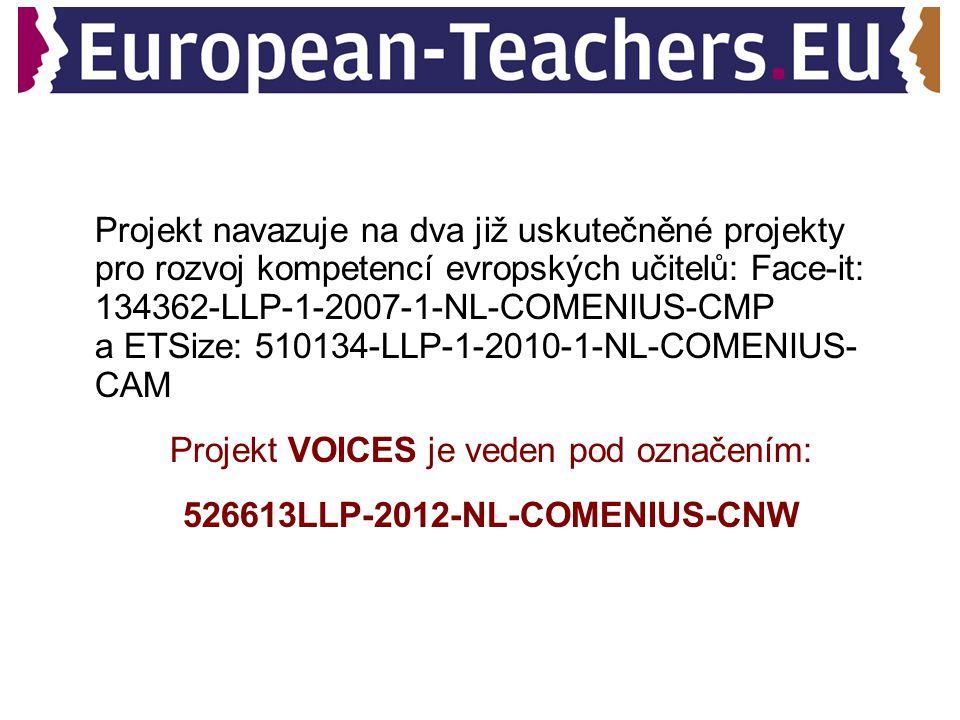 Projekt navazuje na dva již uskutečněné projekty pro rozvoj kompetencí evropských učitelů: Face-it: 134362-LLP-1-2007-1-NL-COMENIUS-CMP a ETSize: 510134-LLP-1-2010-1-NL-COMENIUS- CAM Projekt VOICES je veden pod označením: 526613LLP-2012-NL-COMENIUS-CNW