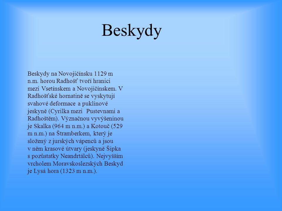 Beskydy Beskydy na Novojičínsku 1129 m n.m. horou Radhošť tvoří hranici mezi Vsetínskem a Novojičínskem. V Radhošťské hornatině se vyskytují svahové d