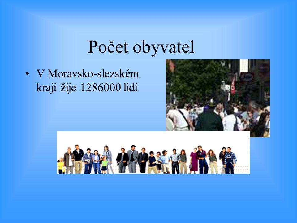 Počet obyvatel •V Moravsko-slezském kraji žije 1286000 lidí