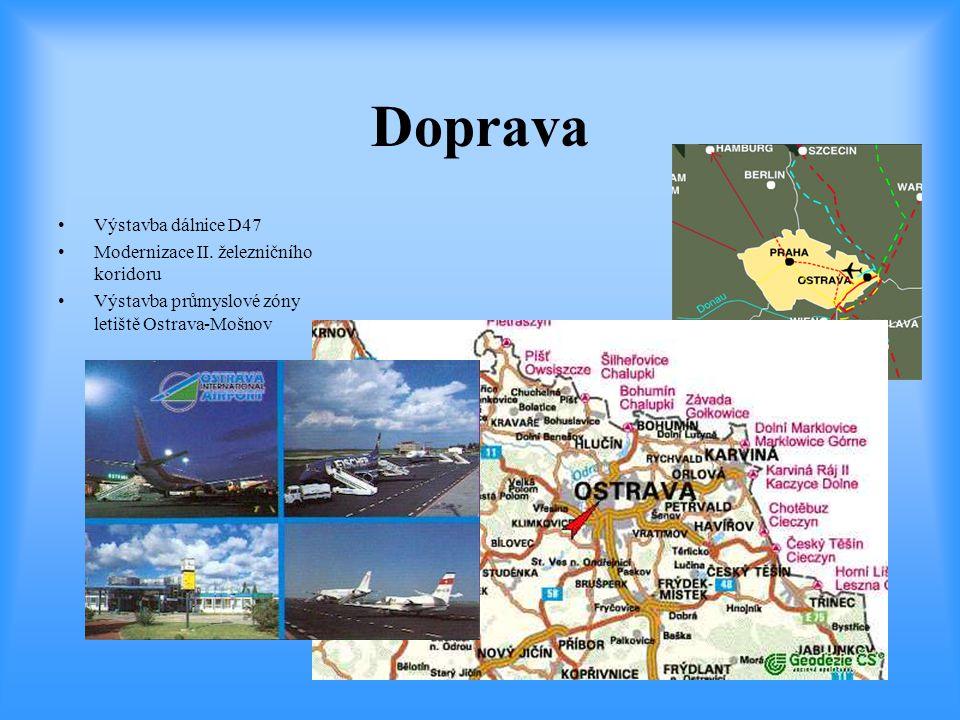 Doprava •Výstavba dálnice D47 •Modernizace II. železničního koridoru •Výstavba průmyslové zóny letiště Ostrava-Mošnov