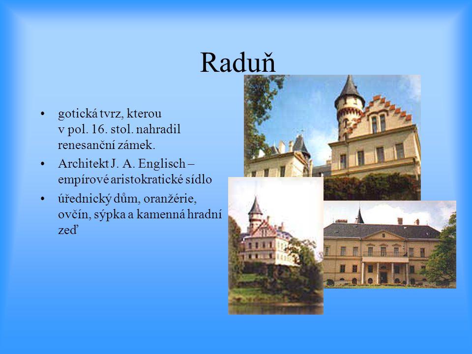Raduň •gotická tvrz, kterou v pol. 16. stol. nahradil renesanční zámek. •Architekt J. A. Englisch – empírové aristokratické sídlo •úřednický dům, oran