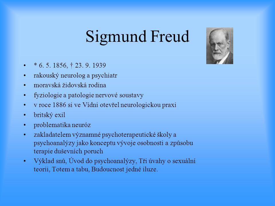 Sigmund Freud •* 6. 5. 1856, † 23. 9. 1939 •rakouský neurolog a psychiatr •moravská židovská rodina •fyziologie a patologie nervové soustavy •v roce 1
