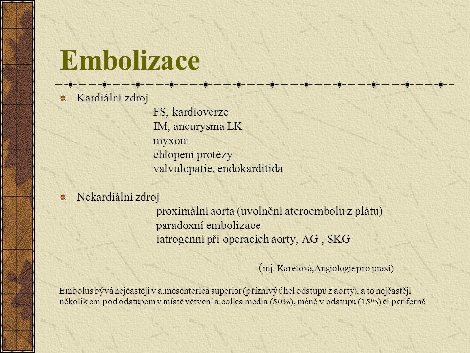 Embolizace Kardiální zdroj FS, kardioverze IM, aneurysma LK myxom chlopení protézy valvulopatie, endokarditida Nekardiální zdroj proximální aorta (uvo