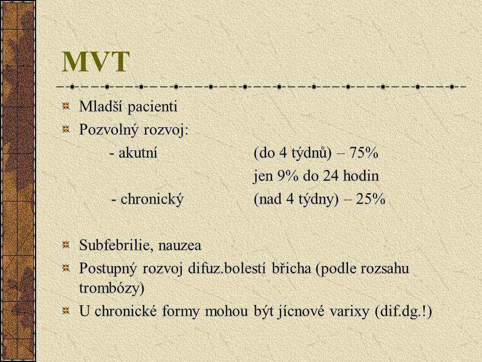 MVT Mladší pacienti Pozvolný rozvoj: - akutní (do 4 týdnů) – 75% jen 9% do 24 hodin - chronický (nad 4 týdny) – 25% Subfebrilie, nauzea Postupný rozvo