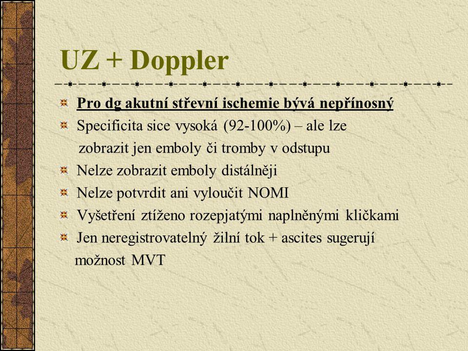 UZ + Doppler Pro dg akutní střevní ischemie bývá nepřínosný Specificita sice vysoká (92-100%) – ale lze zobrazit jen emboly či tromby v odstupu Nelze