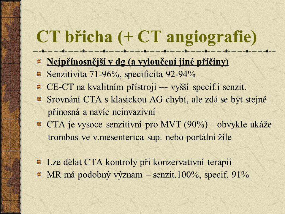 CT břicha (+ CT angiografie) Nejpřínosnější v dg (a vyloučení jiné příčiny) Senzitivita 71-96%, specificita 92-94% CE-CT na kvalitním přístroji --- vy