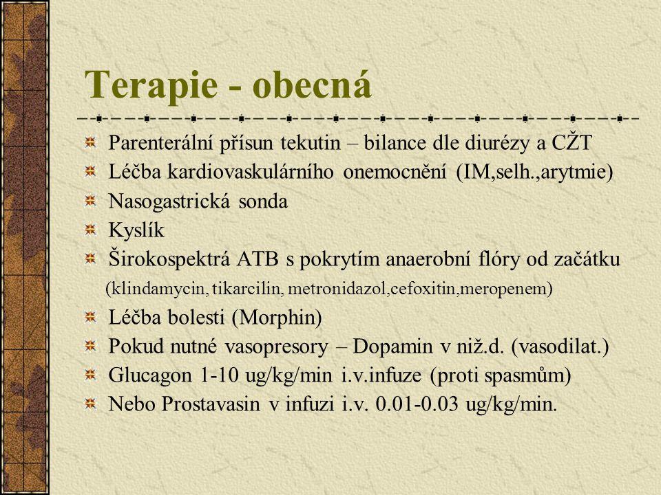 Terapie - specifická Lokální i.a.infuze papaverinu - má smysl u všech typů atreriální ischemie (spasmy vždy přítomny) - specifická léčba u NOMI.
