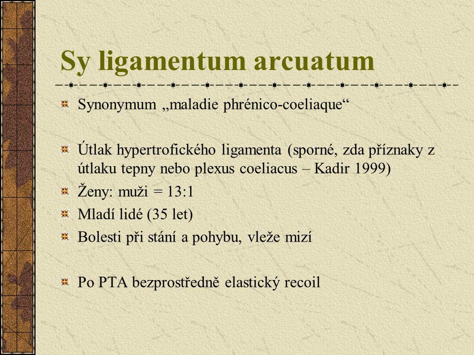 """Sy ligamentum arcuatum Výskyt """"sy ligamentum arcuatum – na 50% AG Významná stenóza v ¼ případů – tedy 12.5% Z nich sympt.jen minim.část Amor, ETC 1999,Paris"""