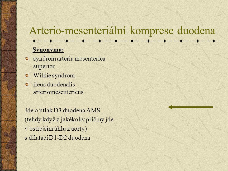 Arterio-mesenteriální komprese duodena 75% případů mladí pacienti 10-30 let Podle jiných dat průměrný věk 40 let Výskyt 0.013-0.3% všech baryových vyšetření v USA Ženy : muži = 2:1 Astenici (80%), visceroptóza Bederní lordóza + léčba skoliózy Úbytek mesenter.tuku (Ca,deprese,anorexie,malabs.sy)