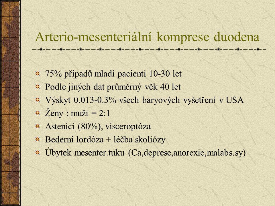 Arterio-mesenteriální komprese duodena Poruchy pasáže duodenem Kolikovité bolesti, úleva na zádech Hayes manévr – tlak pod pupkem – vyprázdnění duodena Zvracení s příměsí žluči Slabost, hubnutí Vyšetření: CT, endoskopie, hypoton.duodenografie, Doppler – měření úhlu AMS (norma 38-56st., zde 6-25%) - měř.vzdálenosti Ao-AMS (10-20mm x 2-8mm) Konzervativní terapie bez efektu Chirurgická léčba