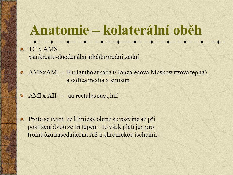 Anatomie – kolaterální oběh TC x AMS pankreato-duodenální arkáda přední,zadní AMSxAMI - Riolaniho arkáda (Gonzalesova,Moskowitzova tepna) a.colica med