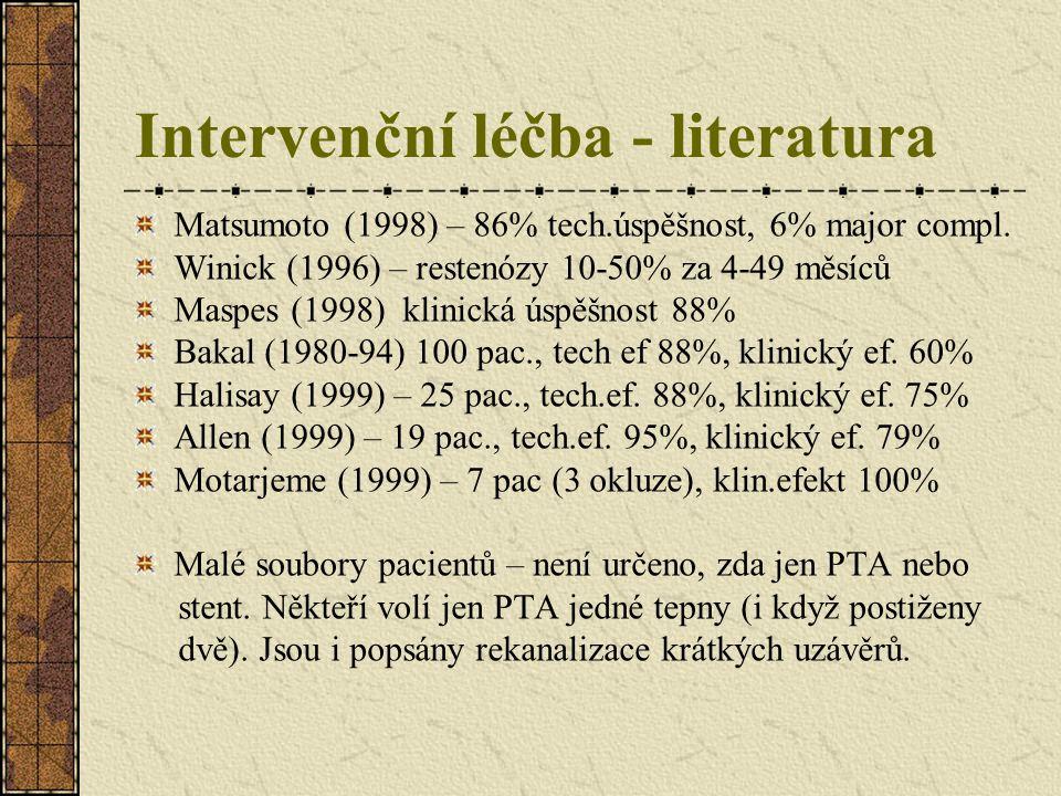 Intervenční léčba - literatura Matsumoto (1998) – 86% tech.úspěšnost, 6% major compl. Winick (1996) – restenózy 10-50% za 4-49 měsíců Maspes (1998) kl
