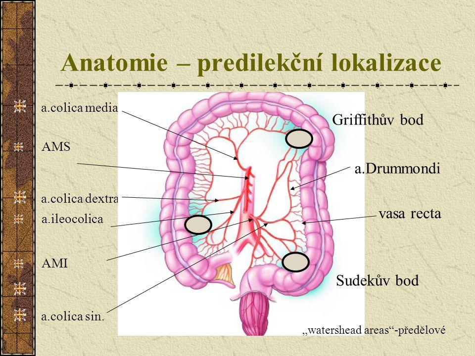 Anatomie – predilekční lokalizace a.colica media AMS a.colica dextra a.ileocolica AMI a.colica sin. Griffithův bod Sudekův bod a.Drummondi vasa recta
