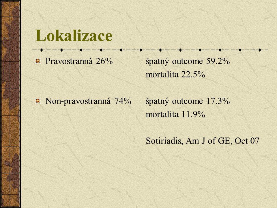 Lokalizace Pravostranná 26% špatný outcome 59.2% mortalita 22.5% Non-pravostranná 74%špatný outcome 17.3% mortalita 11.9% Sotiriadis, Am J of GE, Oct
