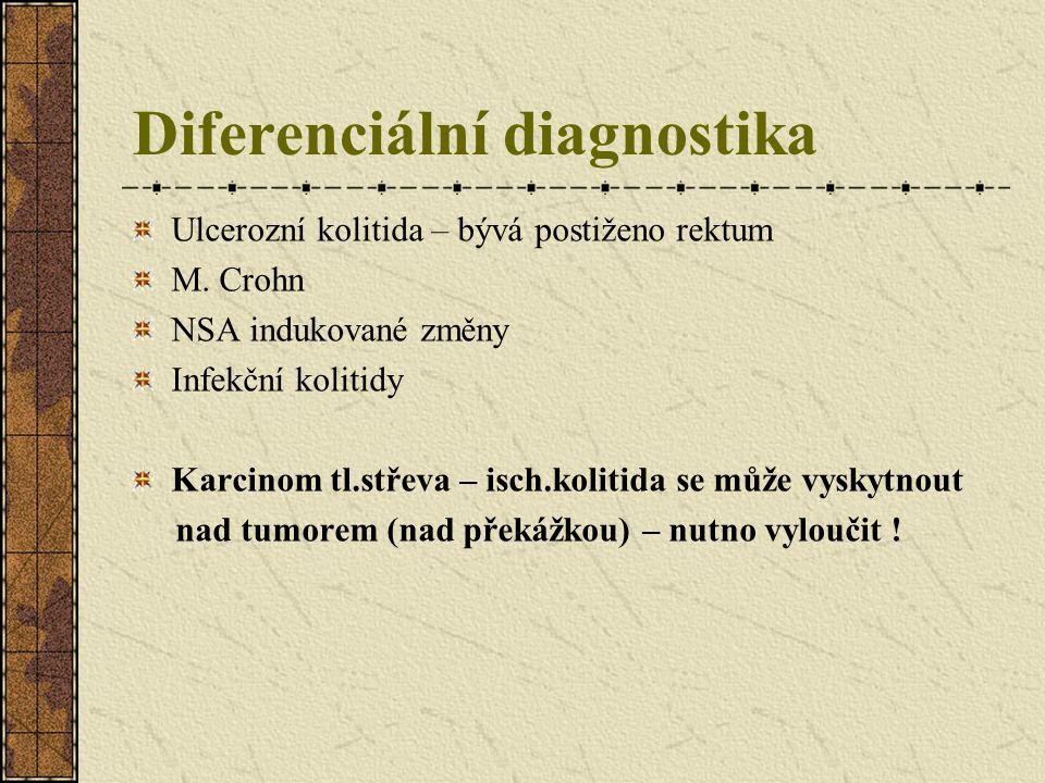 Diferenciální diagnostika Ulcerozní kolitida – bývá postiženo rektum M. Crohn NSA indukované změny Infekční kolitidy Karcinom tl.střeva – isch.kolitid