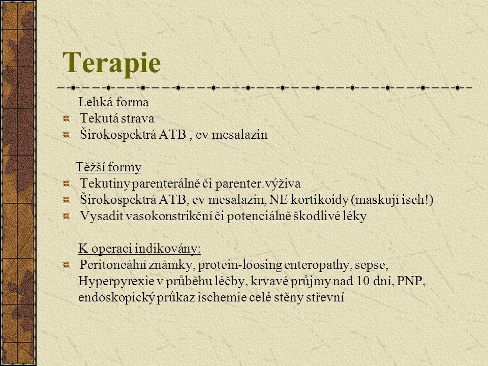 Terapie Lehká forma Tekutá strava Širokospektrá ATB, ev mesalazin Těžší formy Tekutiny parenterálně či parenter.výživa Širokospektrá ATB, ev mesalazin
