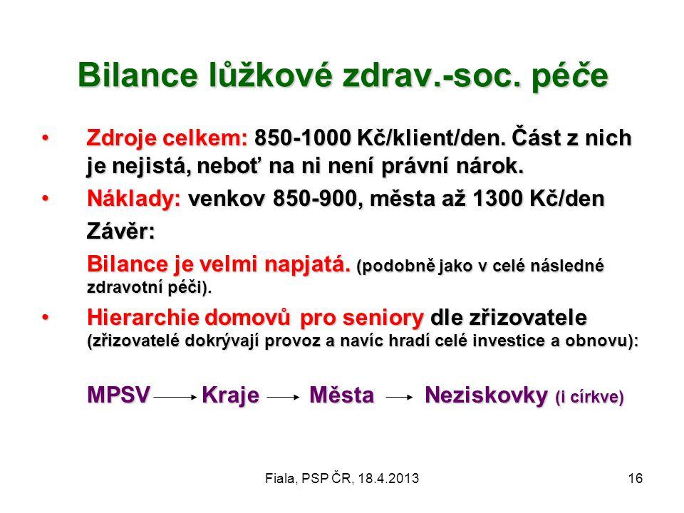 Fiala, PSP ČR, 18.4.201316 Bilance lůžkové zdrav.-soc. péče •Zdroje celkem: 850-1000 Kč/klient/den. Část z nich je nejistá, neboť na ni není právní ná