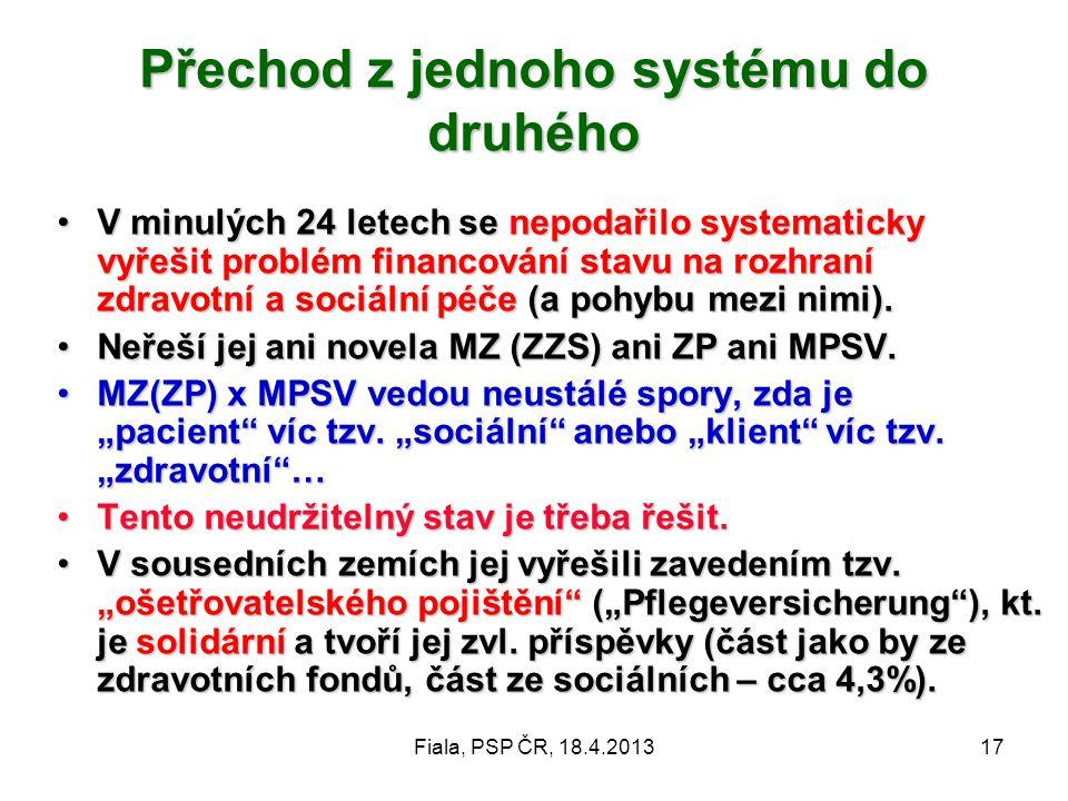 Fiala, PSP ČR, 18.4.201317 Přechod z jednoho systému do druhého •V minulých 24 letech se nepodařilo systematicky vyřešit problém financování stavu na