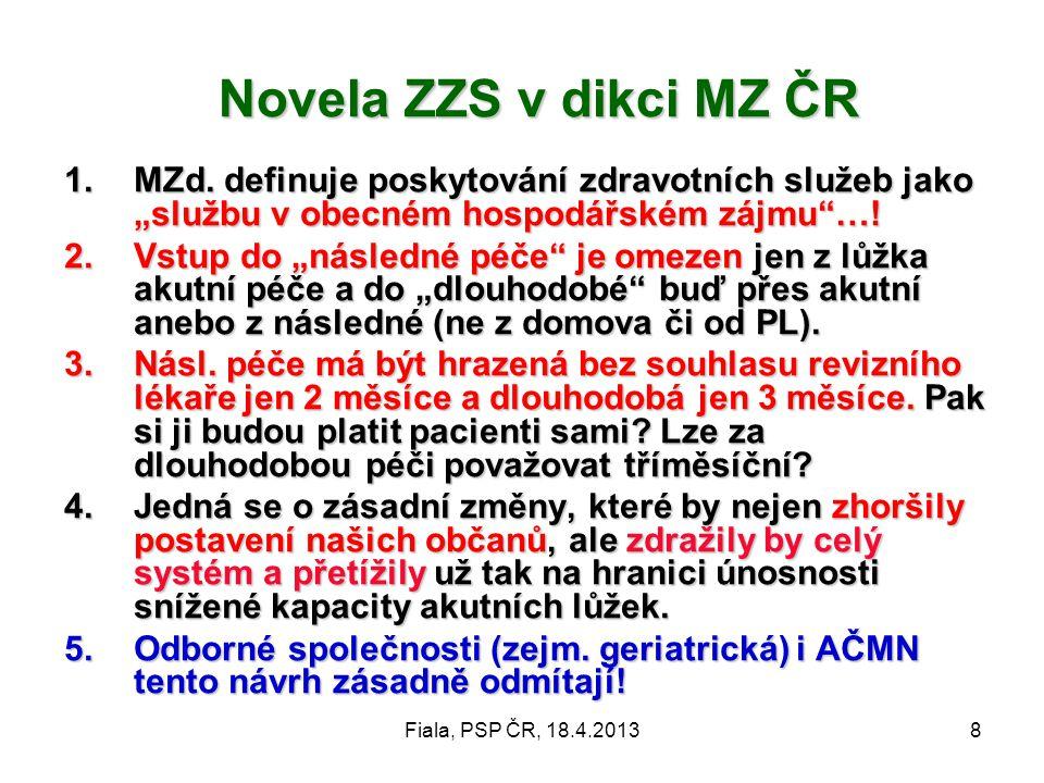"""Fiala, PSP ČR, 18.4.20138 Novela ZZS v dikci MZ ČR 1.MZd. definuje poskytování zdravotních služeb jako """"službu v obecném hospodářském zájmu""""…! 2.Vstup"""