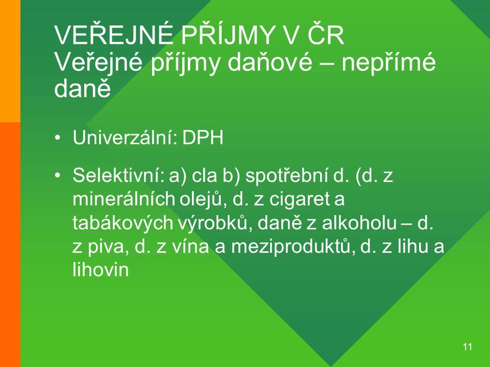 11 VEŘEJNÉ PŘÍJMY V ČR Veřejné příjmy daňové – nepřímé daně •Univerzální: DPH •Selektivní: a) cla b) spotřební d. (d. z minerálních olejů, d. z cigare