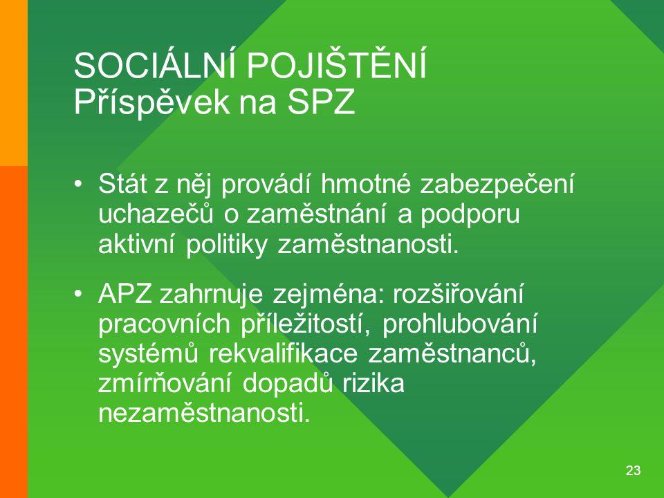 23 SOCIÁLNÍ POJIŠTĚNÍ Příspěvek na SPZ •Stát z něj provádí hmotné zabezpečení uchazečů o zaměstnání a podporu aktivní politiky zaměstnanosti. •APZ zah