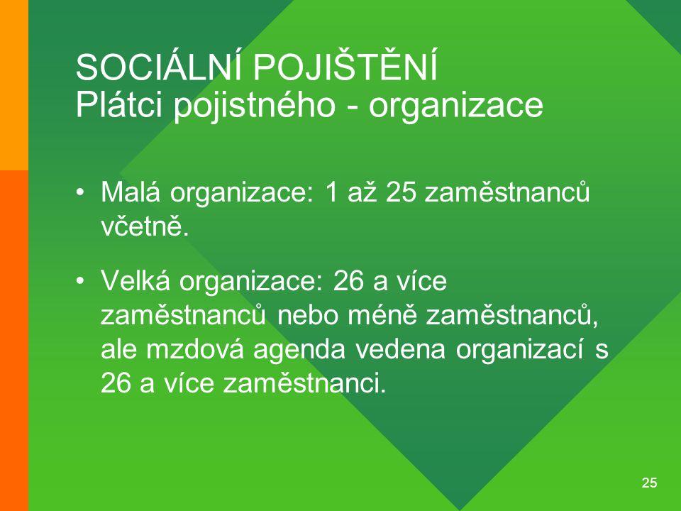25 SOCIÁLNÍ POJIŠTĚNÍ Plátci pojistného - organizace •Malá organizace: 1 až 25 zaměstnanců včetně. •Velká organizace: 26 a více zaměstnanců nebo méně