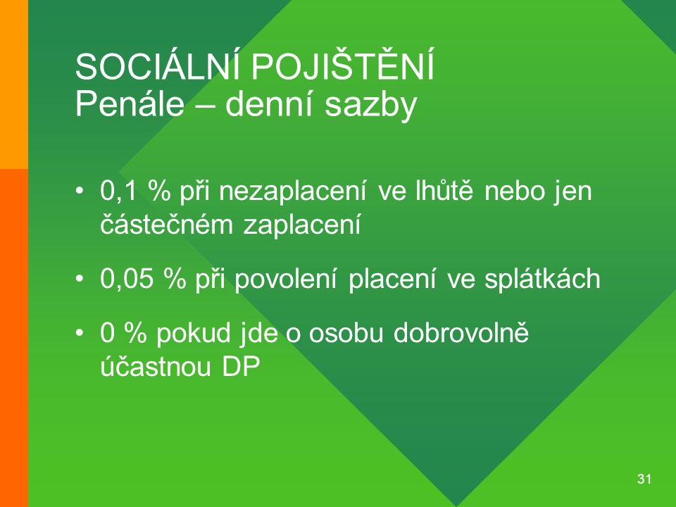 31 SOCIÁLNÍ POJIŠTĚNÍ Penále – denní sazby •0,1 % při nezaplacení ve lhůtě nebo jen částečném zaplacení •0,05 % při povolení placení ve splátkách •0 %