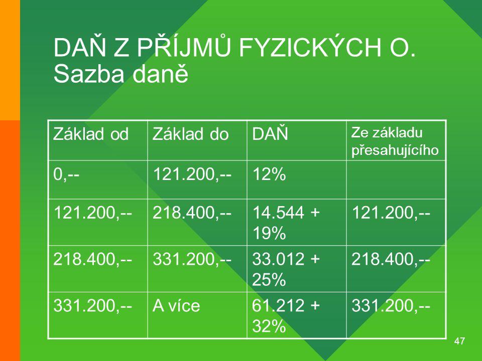 47 DAŇ Z PŘÍJMŮ FYZICKÝCH O. Sazba daně Základ odZáklad doDAŇ Ze základu přesahujícího 0,--121.200,--12% 121.200,--218.400,--14.544 + 19% 121.200,-- 2