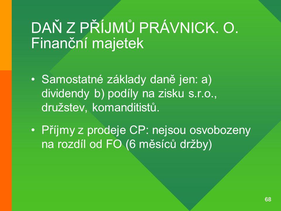 68 DAŇ Z PŘÍJMŮ PRÁVNICK. O. Finanční majetek •Samostatné základy daně jen: a) dividendy b) podíly na zisku s.r.o., družstev, komanditistů. •Příjmy z