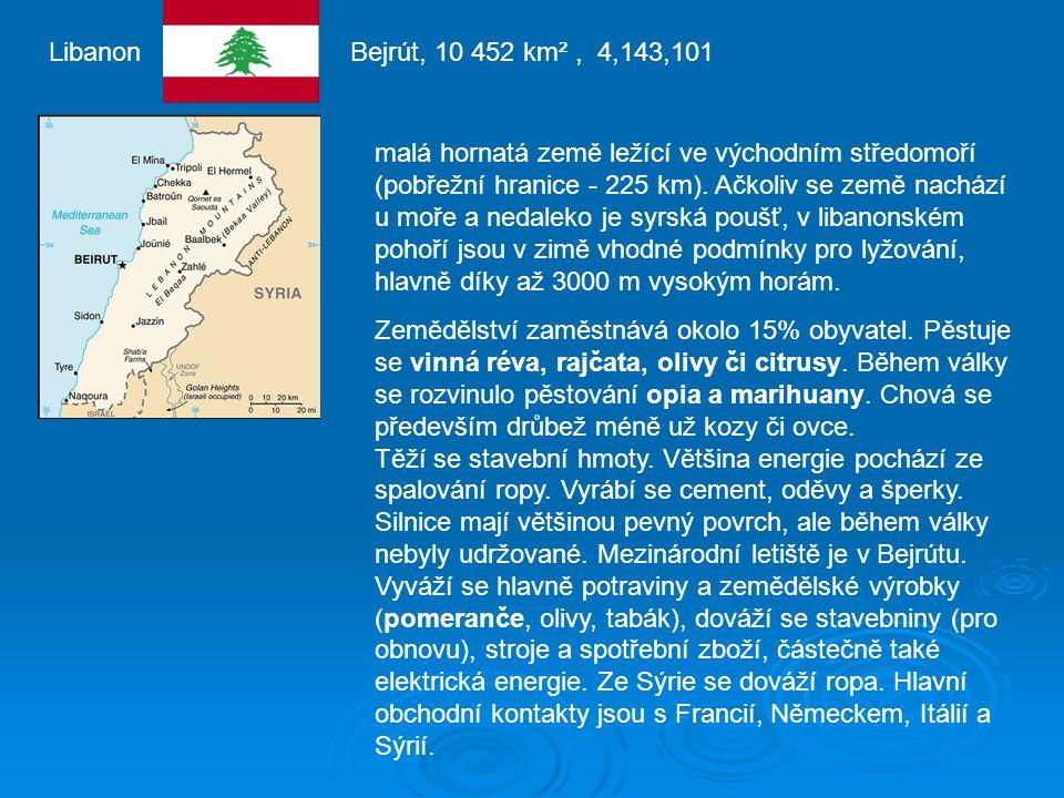 Libanon Bejrút, 10 452 km², 4,143,101 malá hornatá země ležící ve východním středomoří (pobřežní hranice - 225 km).