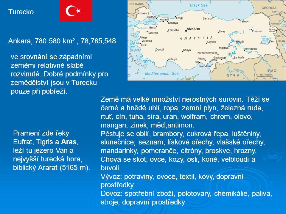 Turecko Ankara, 780 580 km², 78,785,548 ve srovnání se západními zeměmi relativně slabě rozvinuté.
