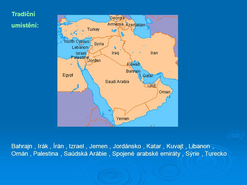 Tradiční umístění: Bahrajn, Irák, Írán, Izrael, Jemen, Jordánsko, Katar, Kuvajt, Libanon, Omán, Palestina, Saúdská Arábie, Spojené arabské emiráty, Sýrie, Turecko
