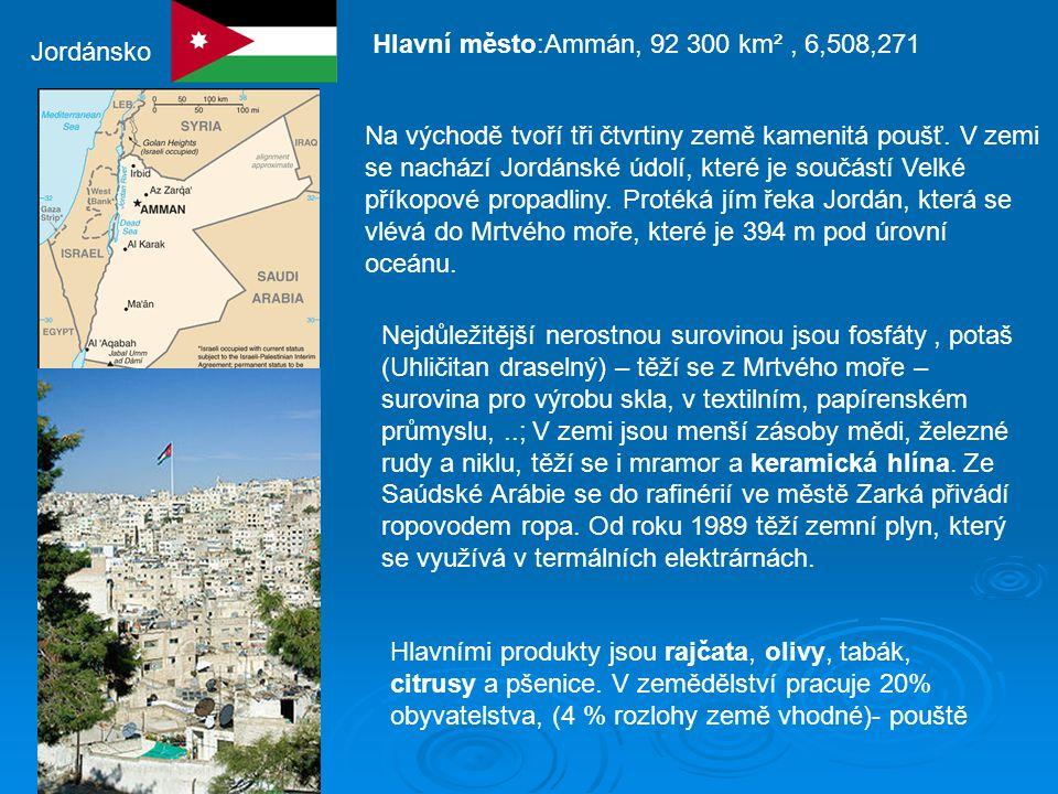 Jordánsko Hlavní město:Ammán, 92 300 km², 6,508,271 Na východě tvoří tři čtvrtiny země kamenitá poušť.