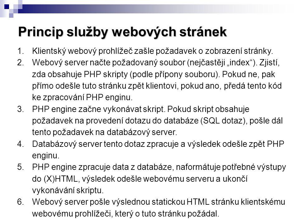 Princip služby webových stránek 1.Klientský webový prohlížeč zašle požadavek o zobrazení stránky. 2.Webový server načte požadovaný soubor (nejčastěji