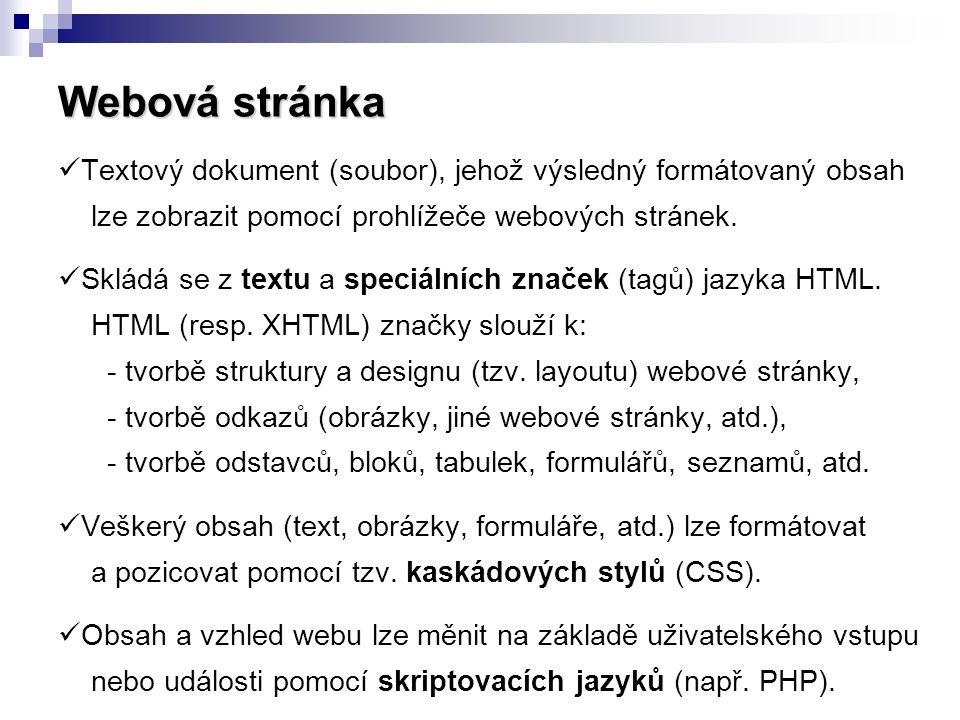 Webová stránka  Textový dokument (soubor), jehož výsledný formátovaný obsah lze zobrazit pomocí prohlížeče webových stránek.  Skládá se z textu a sp