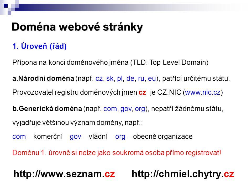 Doména webové stránky http://www.seznam.cz http://chmiel.chytry.cz 1. Úroveň (řád) Přípona na konci doménového jména (TLD: Top Level Domain) a.Národní